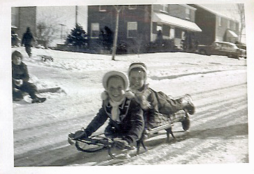 Sledding on White Oak Hill 1955