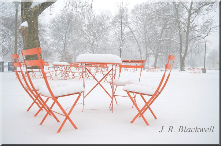 Orange Chairs in Snow