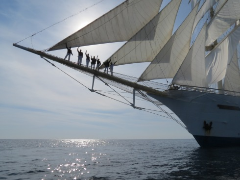 Standing on bowsprit
